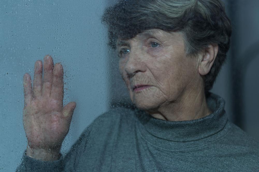 Portrait of elder woman having seasonal depression